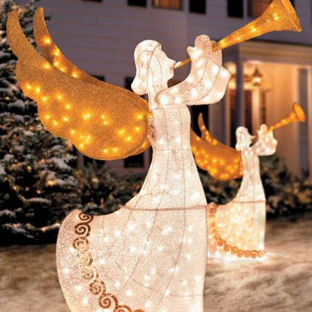 Lighted Animated Angel With Horn, 5 Feet Tall - Set of 2