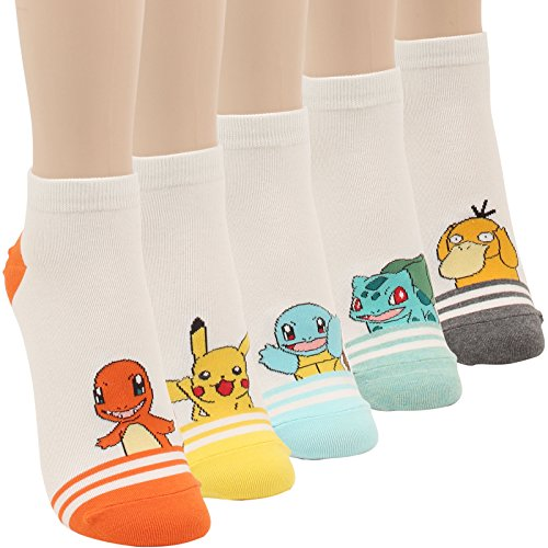 WOWFOOT Cute Pokemon Cartoon Character Print Cotton Crew Floor Socks For Women Girl Boy (5 pair -Stripe)