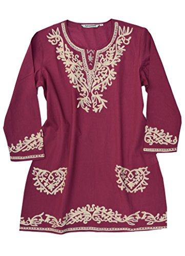 (Ayurvastram Kumi Pure Cotton Embroidered Tunic, Top, Blouse: Cream Emb On Burgundy, Size XS)