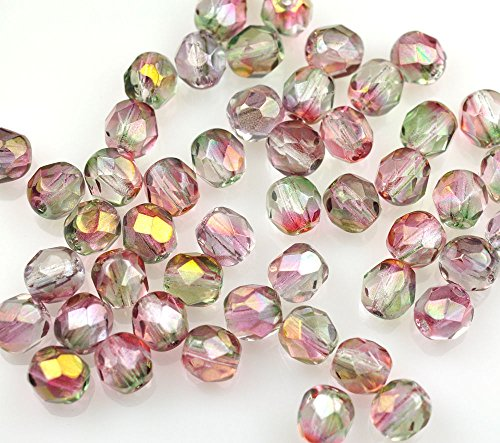ShopForAllYou Design Making 50 Pink/Green Czech Glass Fire Polished Faceted Beads 6MM