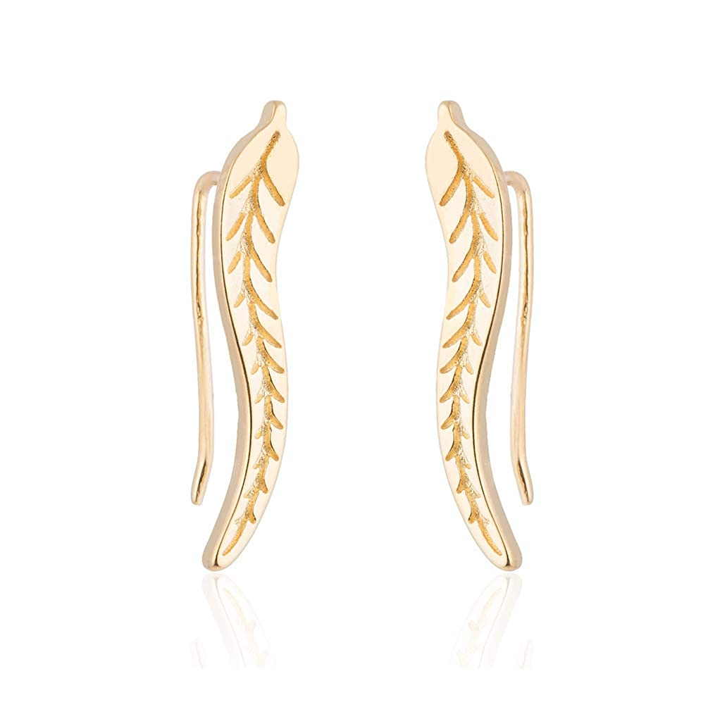 JUESJ Simplicity Willow Strip Leaf Feather Earrings,Carving Veins Ear Clip Ear Studs Ear Sticking Type Earrings for Women Girls Valentines Day Gifts.