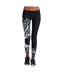 IYU_Dsgirh Pantalones Yoga Mujeres Patrón de árbol Leggings Pantalones Largos Deportivos para Mujer (Negro, L)