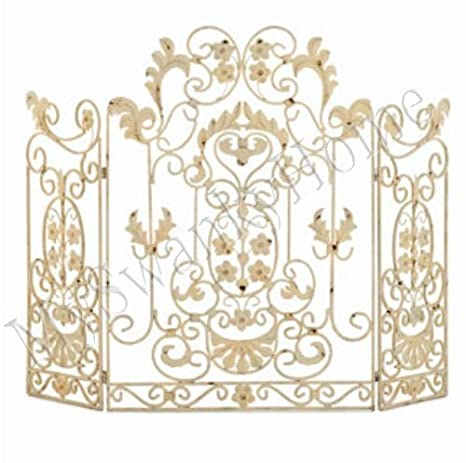 Amazon Com French Country White Iron Fireplace Screen Home Kitchen
