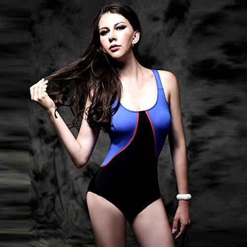 HHBO Bikini halter de las mujeres de costura de cuello bajo golpe de color geométrico de poliéster Black