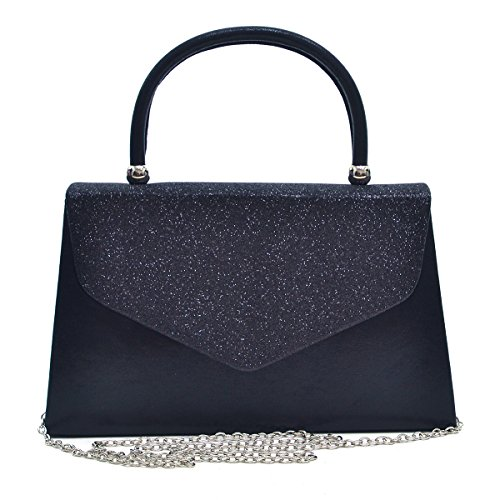 Frosted Cocktail - Dasein Women's Evening Bags Formal Party Clutches Wedding Purses Cocktail Prom Handbags with Frosted Glittering (Black)