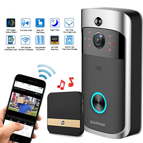 Xpiwhtow WiFi Video doorbell 720P Smart Home Security Camera 16G SD Card, Free Cloud Record, 2-Way Audio, PIR Motion Detect, Night Vision, Wide-Angle Lens, Battery Power Long Standby, APP iOS/Android