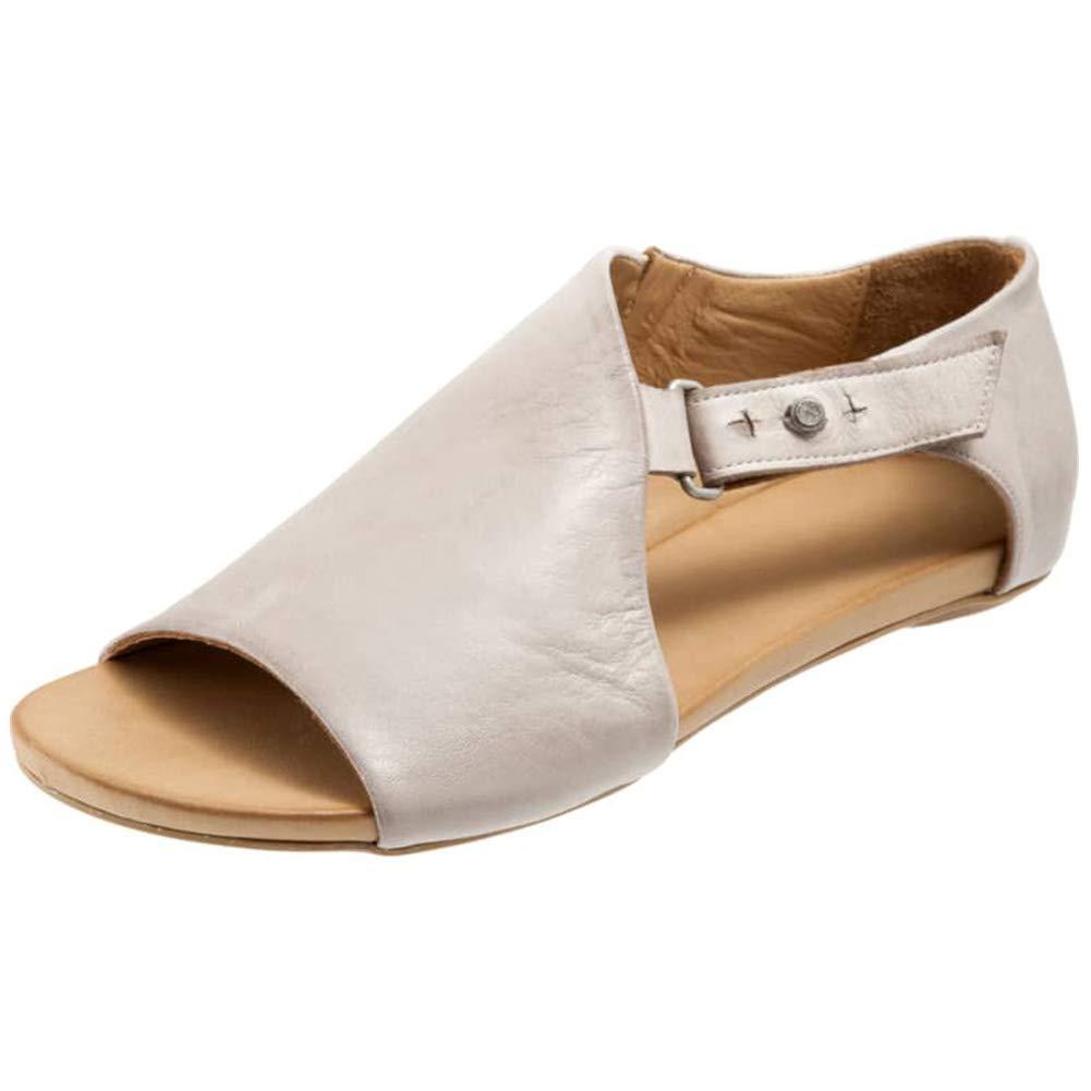 ec4542ebcd6 Vimisaoi Women's Summer Comfy Flat Sandals, Open Toe Ankle Strap Buckle  Espadrille Rome Shoes Black