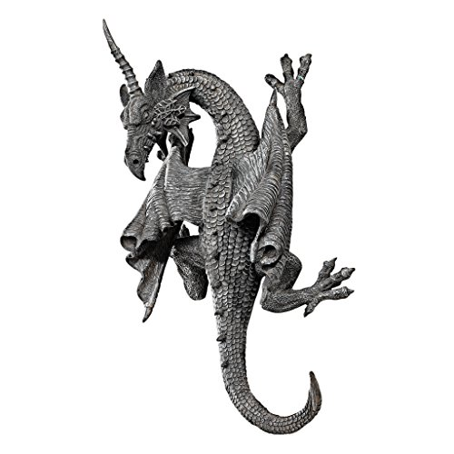 Design Toscano Horned Dragon of Devonshire Wall Sculpture, 33 cm, Polyresin, Grey Stone