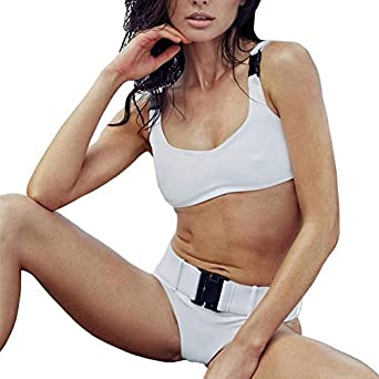 1154426ab16 Amazon.com: Women Brazilian Thong Bikinis Swimsuit Triangle Molle Buckle  Girls Swimwear Women Bathing Suits with Belts (White, Large): Clothing