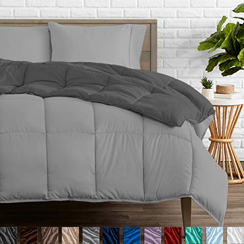 Bare Home Reversible Comforter – Full Size – Goose Down Alternative – Ultra-Soft – Premium 1800 Series – Hypoallergenic – All Season Breathable Warmth (Full, Grey/Light Grey)