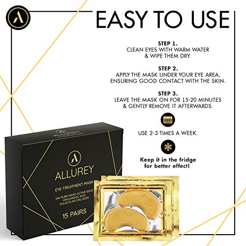 518xawL187L - ALLUREY 24K Gold Collagen Eye Mask, Best Eye Care, Anti-aging and Anti-wrinkle Effect, Moisturizes, Reduces Puffiness and Dark Circles, Under Eye Patches (15 Pairs)