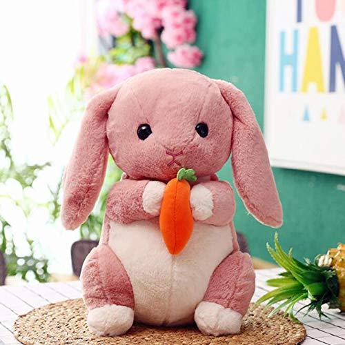 SweetGifts Plush Bunny Stuffed Animal Rabbit Dolls Toys Hugging Carrot Easter Decorations Pink 8.7