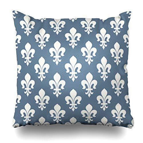 - GisRuRu Throw Pillow Covers Retro Light Blue Vintage Classical French Royal Pattern Ornate Fleur De Lis Abstract Geometric Home Decor Sofa Pillowcase Square Size 16 x 16 Inches Cushion Cases