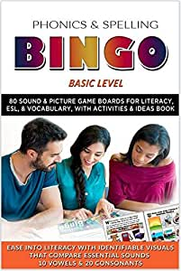 Phonics & Spelling Bingo Activities & Ideas Book, Basic Level, + 80 Nine-Item Sounds & Pictures Boards for Literacy, ESL, & Vocabulary Games