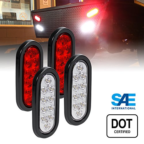 2 RED + 2 White 6 Oval LED Trailer Tail Light Kit - DOT Certified Stop Turn Brake Reverse Back UP Tail Light