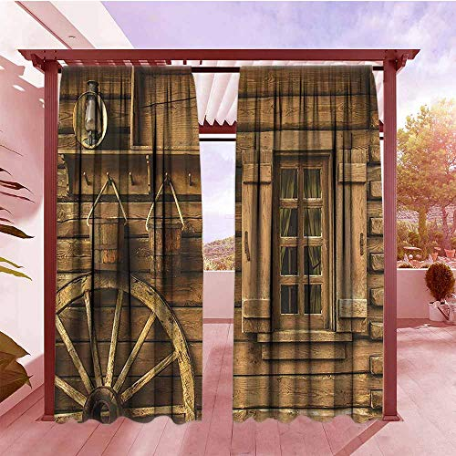 - Outdoor Curtains Western Decor Collection Ancient Wagon Wheel Rustic Wooden Vintage Lantern Window and Buckets Picture Room Darkening, Noise Reducing W96x84L Khaki 2