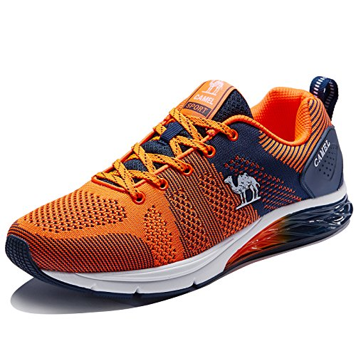 Camel Mens Running Shoes Breathable Lightweight Shockproof Casual Walking Shoes Athletic Fashion Sports Sneakers (10 D(US), Orange) (Camel Golf Shoe)