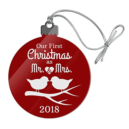 Graphics and More Our First Christmas as Mr and Mrs 2018 Married Kissing Birds Red Background Acrylic Christmas Tree Holiday Ornament - 1st Christmas Acrylic