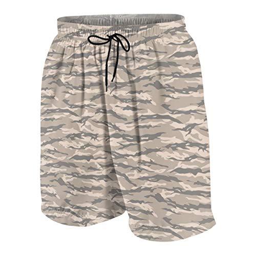 Summer Beach Shorts Desert Tiger Stripe Camouflage Brown Board Shorts Quick Dry Swim Trunks ()