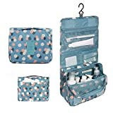 Travel Cosmetic Bag Portable Waterproof Travel Organizer Hanging Toiletry Bag Cosmetic Make up Bag case for Women (Blue Flowers)