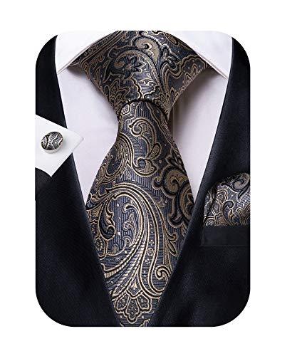 DiBanGu Silk Tie Grey Yellow Necktie and Pocket Square Cufflink Set Woven Paisley Tie for Men