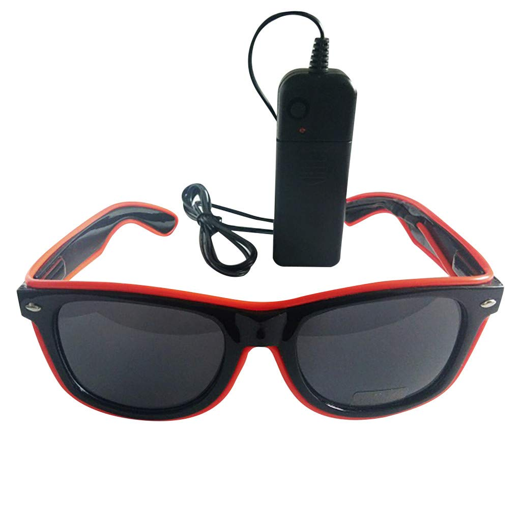 El LED Club Party Light Up Glasses Eyeglasses Bright Flashing Brill Battery Box