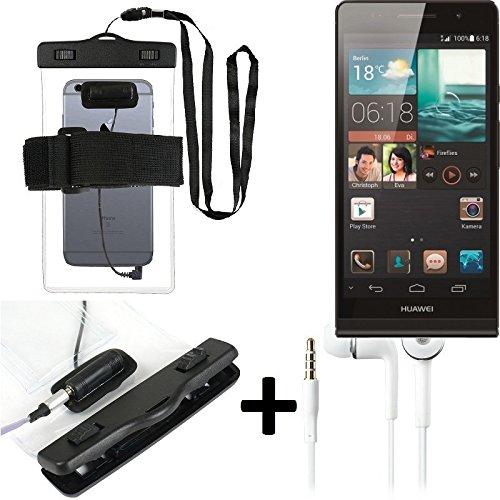 Estuche estanco al agua con entrada de auriculares para Huawei Ascend P6 + auricular incluido, transparente | Trotar bolsa de playa al aire libre caja brazalete del teléfono caso de cáscara bajo playa
