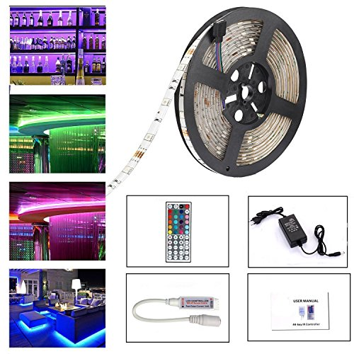 Led Strip Lighting Waterproof 5M 16.4 Ft 5050 RGB 150LEDs Flexible Color Changing Full Kit with 44 Keys RF Remote Controller, Control Box,12V 2A Power Supply by LEN (Image #7)