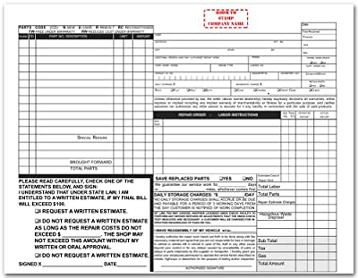 California Automotive Repair Form