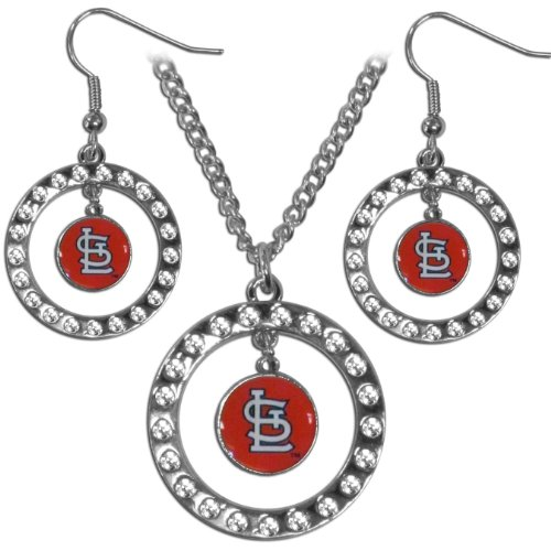 [MLB St. Louis Cardinals Rhinestone Jewelry Set] (Mlb Jewelry)