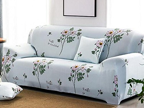 YJBear 1 PC European Pink Chinese Rose Printed Polyester Spandex Furniture Cover Slip Resistant Strapless Stretch Chair Loveseat Sofa Protector Shield White 74.8''-90.55''(Sofa)