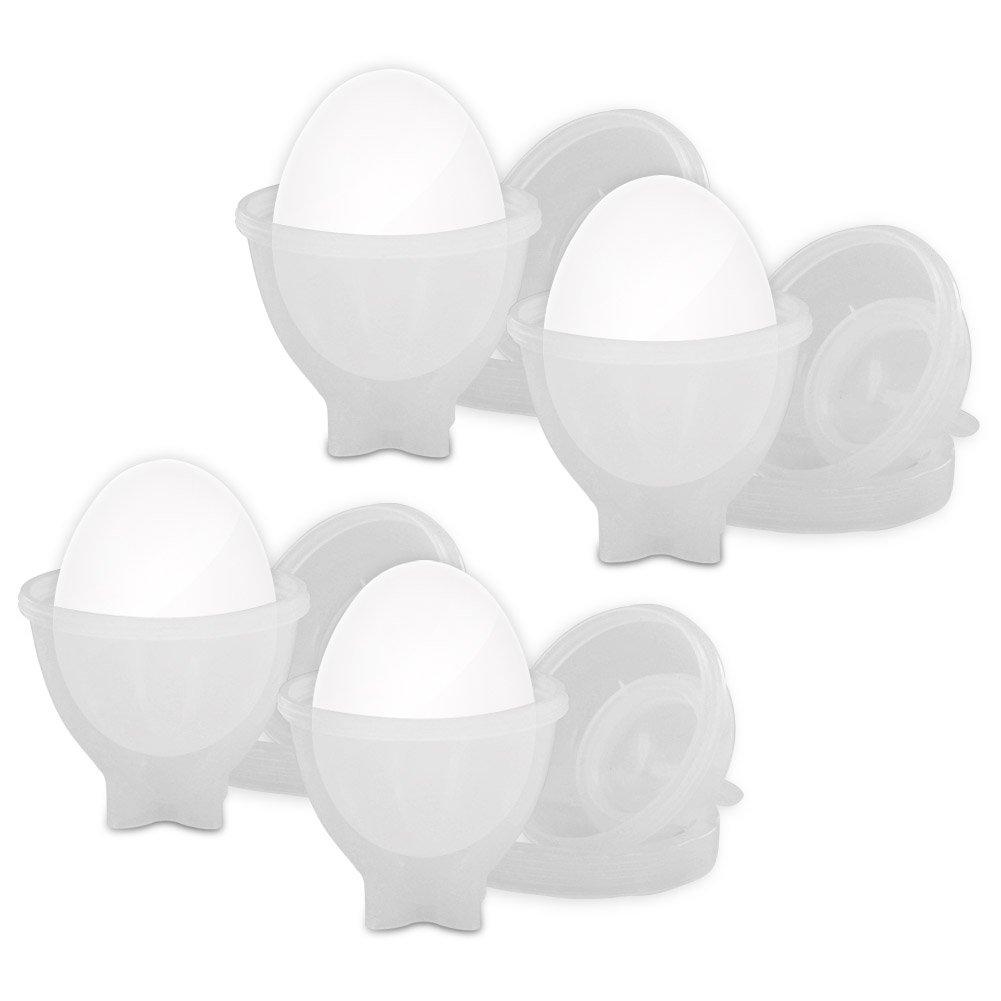 Eggies Deluxe Plastic Egg Cooker Set - Never Peel a Hard-Boiled Egg Again! As Seen on TV 210495