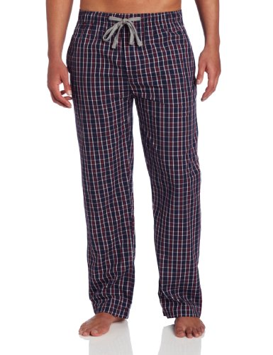 Ike Behar Men's V-Neck Top With Lounge Pant, Burgundy/Navy Check, Large