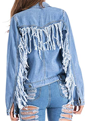 Casual Dchirs Blue Cowboy Coats Jeans Denim des Cardigan Les Veste Pompons en Et Jacket Femmes Denim WLITTLE IaqOpwCO