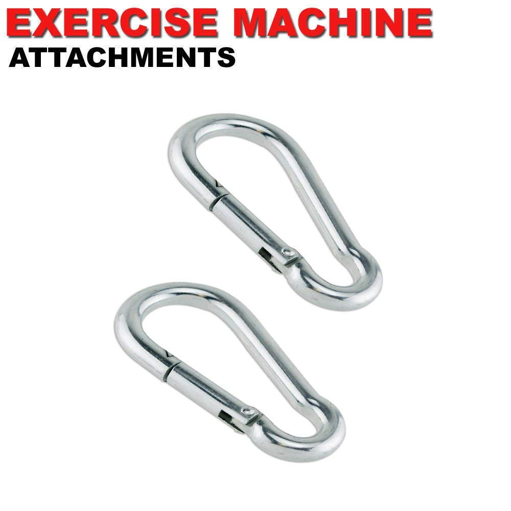 FITNESS MANIAC USA Home Gym Cable Attachment Handle Machine Exercise Chrome PressDown Strength Training Home Gym Attachments Barbell Deluxe Steel Carabiner Spring Snap Link Hook by FITNESS MANIAC (Image #3)