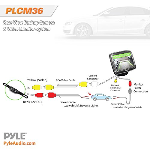 518xdN3 blL amazon com pyle backup rear view car camera monitor screen system pyle backup camera wiring diagram at gsmportal.co