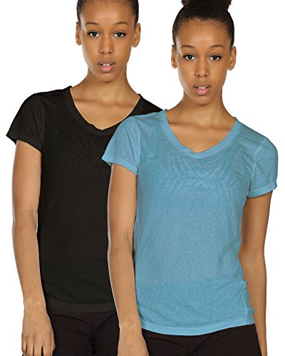 icyzone Activewear Fitness Yoga Tops Workout V Neck Open Back T-Shirts for Women(M,Black/Blue)
