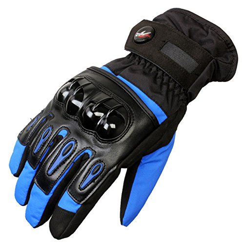 Wincom Dishman Motorcycle Gloves Tough Screenn Full Finger Protective Motorcycle Racing Gloves Waterproof Pro-Biker MTV-08 - (Size: M, Color: Blue)