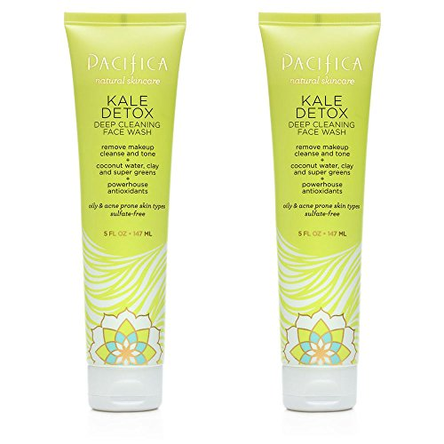 Pacifica Kale Detox Deep Cleaning Face Wash For Clean Skin, Blemishes and Breakouts With Super Green Phytonutrients, Kale, Seaweed, Blue Seakale and Coconut Water, 5 fl. oz. Pack of 2