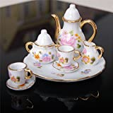 Roto - 8pcs/set of Tea Cup Set Antique Dollhouse Miniature Furniture Toys Kitchen Chinoiserie Mini Dining Saucer&plate for 1:6 Doll House