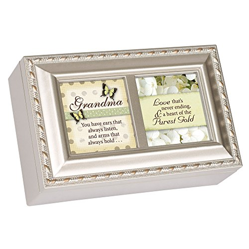Cottage Garden Grandmother Love Never Ending Brushed Silvertone Jewelry Music Box Plays Amazing Grace (Music Box For Grandmother)