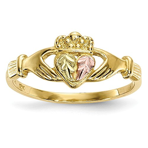 Best Birthday Gift 10k Tri-Color Black Hills Gold Claddagh Ring