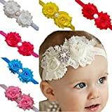TANZKY® 10pcs Baby Girl Bow Headbands Rose Pearl Ribbon Flower Princess Hairband