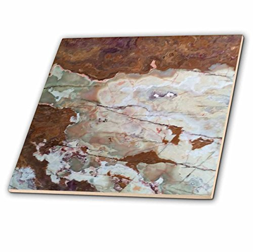 3D Rose Image of Rusty Green and Ivory Granite Ceramic Tile Multicolor