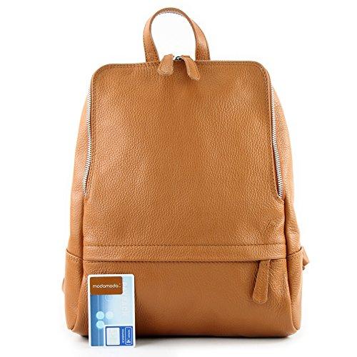 De Bag Modamoda Rucksack Backpack Ital T138 Citybag Leather Camel Ladies daqfA1