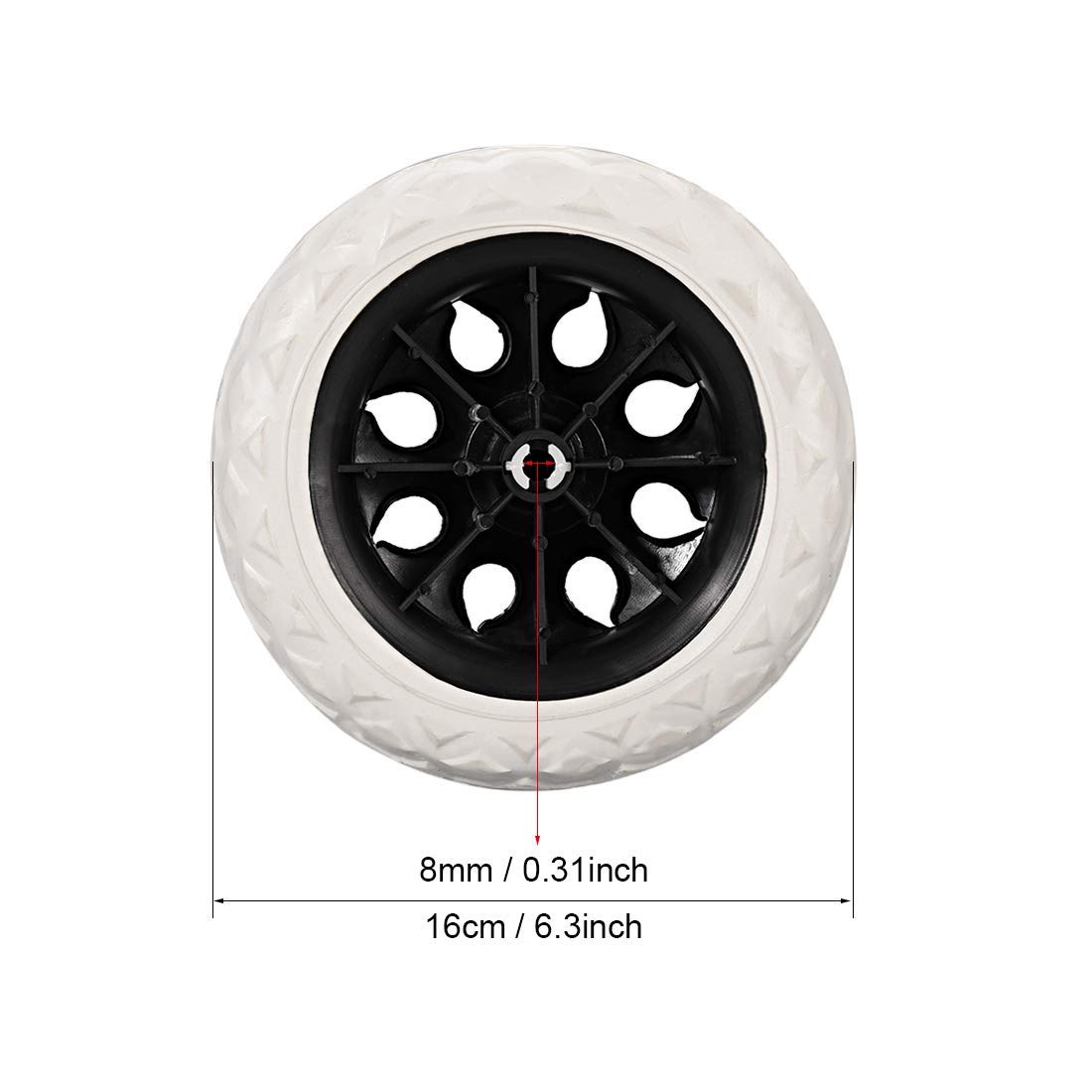 Shopping Cart Caster Trolley Wheels Replacement 6.5 Inch Dia Rubber Foam Black