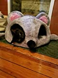 Hoopet Cat Caves Warm Cat Tunnel Houses Cartoon Mouse Design Grey