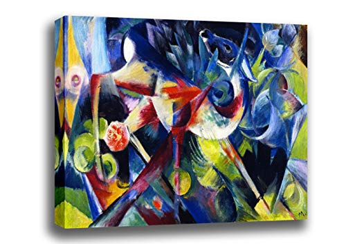 (Canvas Print Wall Art - Deer in A Flower Garden (Also Known as Deer in A Garden) - by Franz Marc - Giclee Printed on Stretched Gallery Wrap - 18x13 inch )