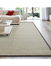 iCustomRug Zara Synthetic Sisal Collection Area Rug and Custom Size Runners, Softer Than Natural Sisal Rug, Stain Resistant & Easy to Clean Beautiful Border Rug