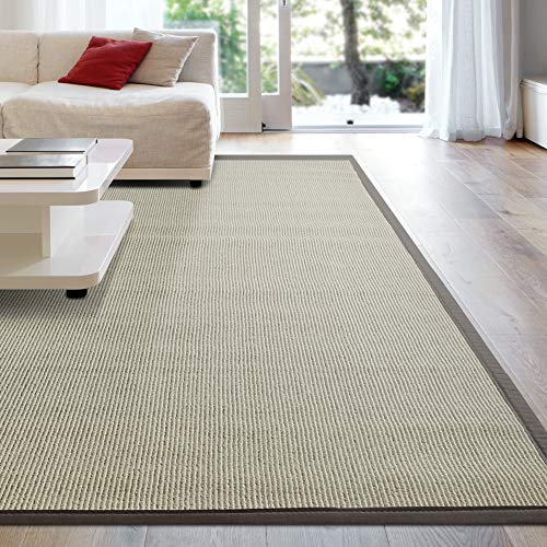 iCustomRug Zara Synthetic Sisal Collection Rug and Runners, Softer Than Natural sisal Rug, Stain Resistant & Easy to Clean Beautiful Border Rug in Brown 8'6 x 12' ()